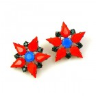 True Love Earrings Pierced ~ Opaque Red Blue Emerald