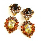 Aztec Sun Earrings Clips ~ Topaz Tones with Silver Yellow