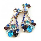 Walla Walla Earrings Clips ~ Blue Aqua Purple