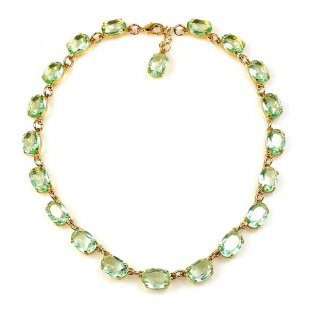Bohemia One Strand Necklace Ovals ~ Green ~ Gold Plated