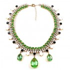 Raindrops Necklace ~ Green Opaque White with Black