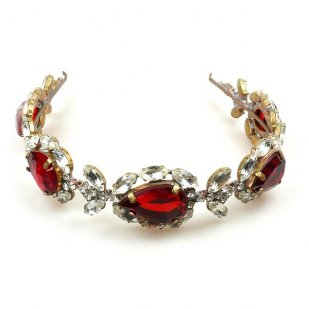 Sonatine Headband Tiara ~ Ruby Red with Clear Crystal