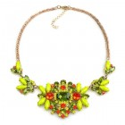 Florence Necklace ~ Lime Green Olive Hyacint