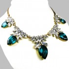 Camilla Necklace ~ Clear Crystal with Silver Emerald
