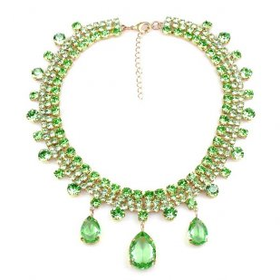 Raindrops Necklace ~ Green Peridot
