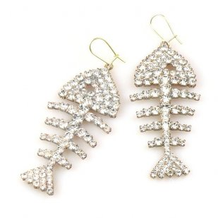 Fish Bone Pierced Earrings ~ Clear Crystal