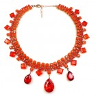 Raindrops Necklace ~ Opaque Hyacinth Orange
