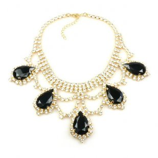 Majesty Necklace ~ Clear Crystal Black ~ Gold Plated