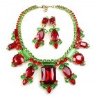 Lady Charm Necklace Set with Earrings ~ Red Green
