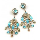 Enchanted Rhinestone Earrings Pierced ~ Aqua Grey