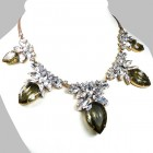 Camilla Necklace ~ Clear Crystal with Silver Smoke Crystal