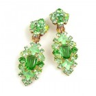 Fatal Passion Earrings Clips-on ~ Peridot Green