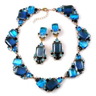 Pearlesque Necklace and Earrings ~ Blue Mood