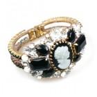 Cameo Clamper Bracelet ~ Black with Clear Crystal