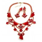 Picasso Jewelry Set with Earrings ~ Red