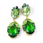Iris Earrings Pierced ~ Peridot Green Emerald