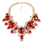 Taj Mahal Necklace ~ Red with Aurora Borealis