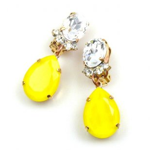 Effervescence Earrings with Clips ~ Opaque Yellow Clear