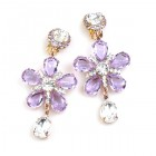 Flowers Earrings Clips-on ~ Violet