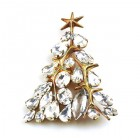 Xmas Tree Brooch #05 ~ Clear Crystal