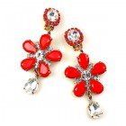 Flowers Earrings Clips-on ~ Red