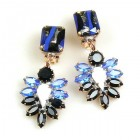 Perceive Earrings with Clips ~ Opaque Blue Black White