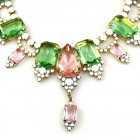 Ophelia Necklace ~ Green Pink with Opaque White