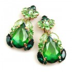 Iris Earrings Clips-on ~ Green Emerald