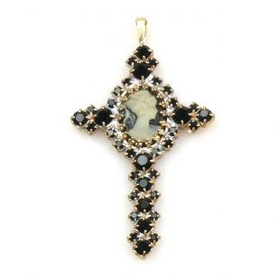 Cameo Cross Pendant ~ Black