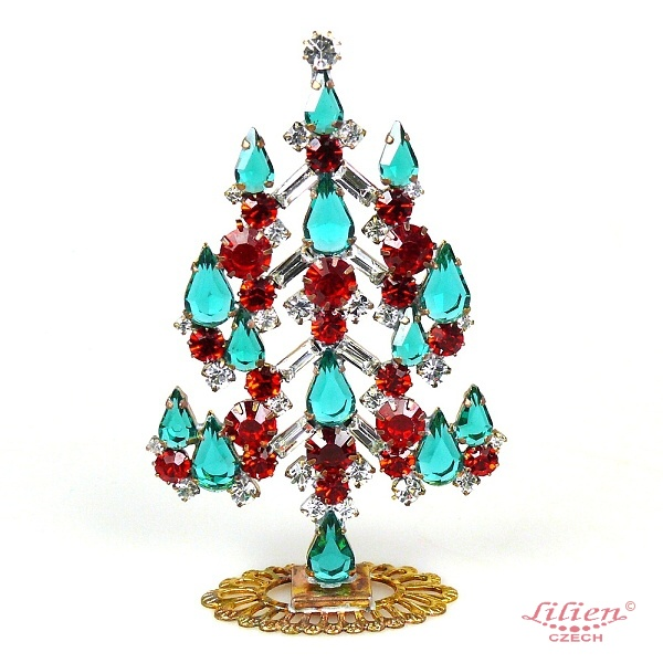 xmas tree standing decoration 2018 05 clear red emerald lilien