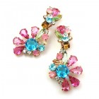 Power of Flowers ~ Earrings with Clips ~ Pastel Colors