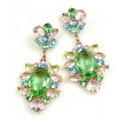 Sweet Temptation Earrings Pierced ~ Green with Pastel Colors