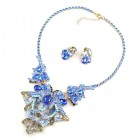 Orchid Necklace with Earrings ~ Blue and Smoke Crystal