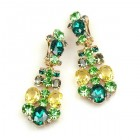 Dione Earrings Clips ~ Green Tones with Yellow