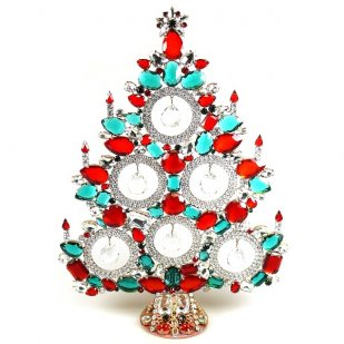 13 Inches Tall Giant Xmas Tree with Baubles ~ Green Clear Red