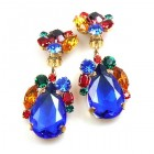 Fountain Clips-on Earrings ~ Fruit Cocktail with Blue