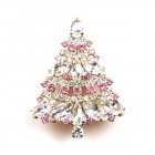 Xmas Tree Brooch #09 ~ Clear Pink
