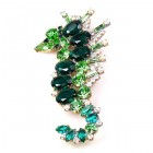 Sea-Horse Brooch ~ Green Emerald