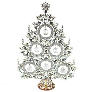 13 Inches Tall Giant Xmas Tree with Baubles ~ Clear Crystal