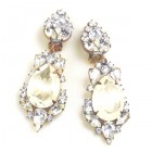 Grand Mythique Clips-on Earrings ~ Crystal Opaque White