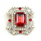 Octagonal Brooch or Pendant ~ Clear Crystal Beads Ruby