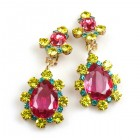 Heritage of History Earrings Clips ~ Fuchsia Multicolor