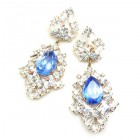 Beaute Earrings Pierced ~ Crystal with Silver Sapphire