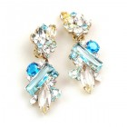 Touch the Sky Earrings Clips ~ Blue Aqua Clear Crystal