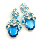 Extra Elipse Earrings Long Pierced ~ Aqua with Clear Crystal
