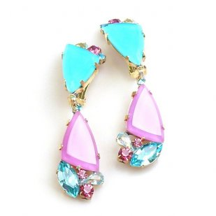 Dancing Amenity Earrings Clips ~ Aqua Pink