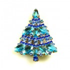 Xmas Tree Brooch #09 ~ Blue Aqua