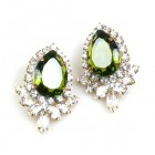 Paris Charm Pierced Earrings ~ Crystal with Olive Green