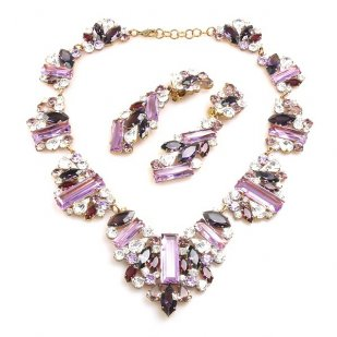 Ffion Necklace Set ~ Violet and Clear Crystal
