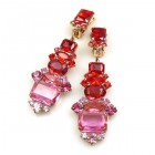 Xanthe Earrings with Clips ~ Fuchsia Red